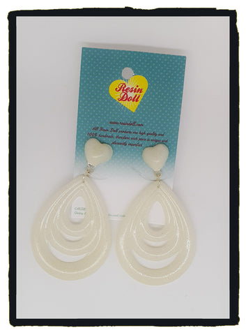 White tear drop Jumbo layered  earrings