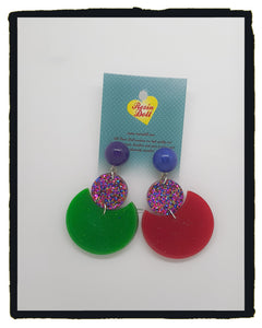 Disco Glitter Round Round Baby drop earrings (new design)