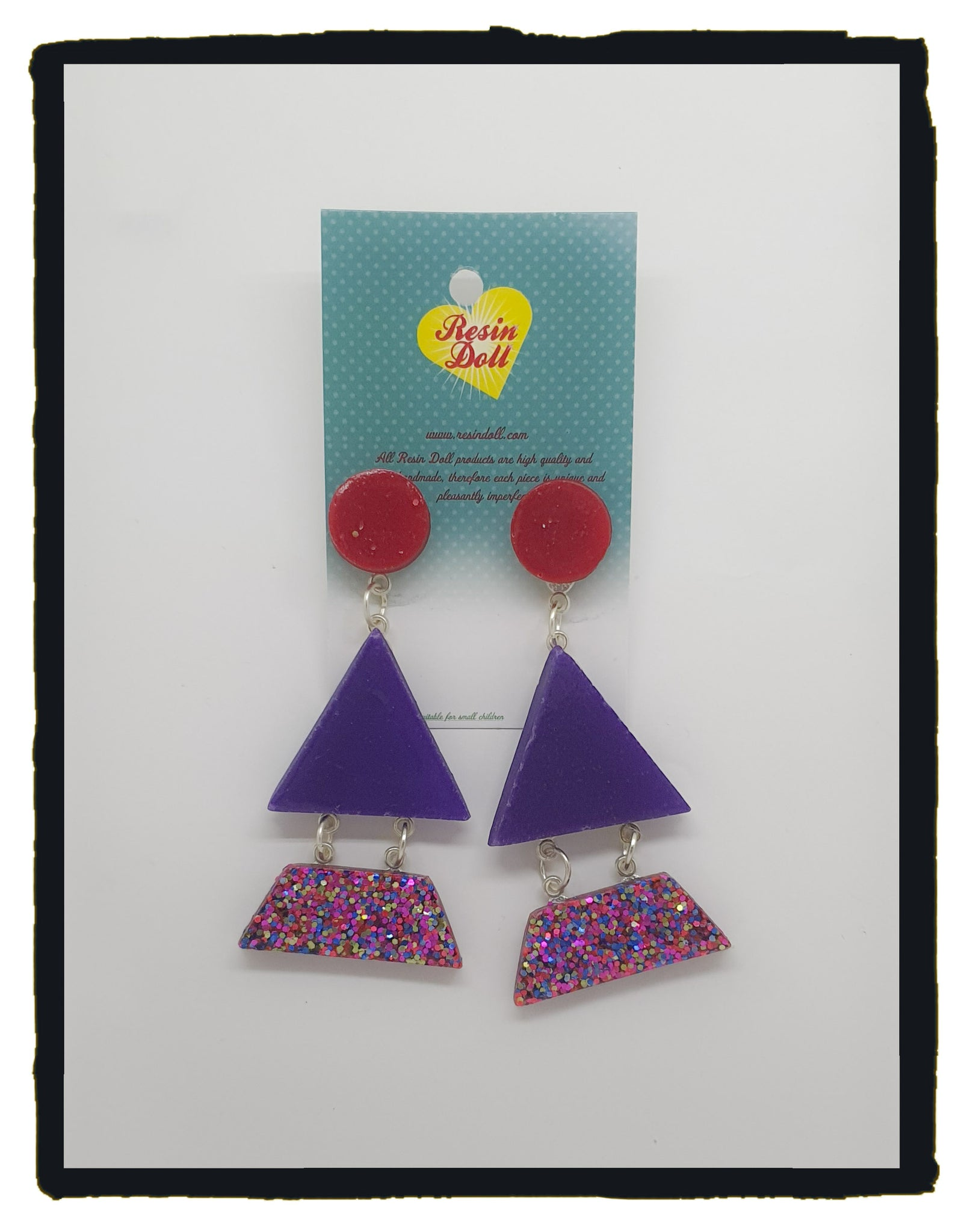 Disco Glitter Triangle-angle drop earrings