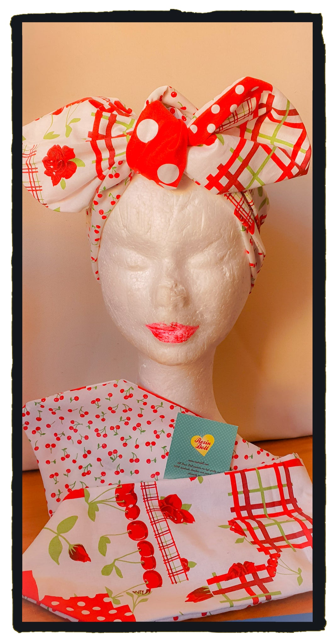 Cherry tea Reversible headband (New design)