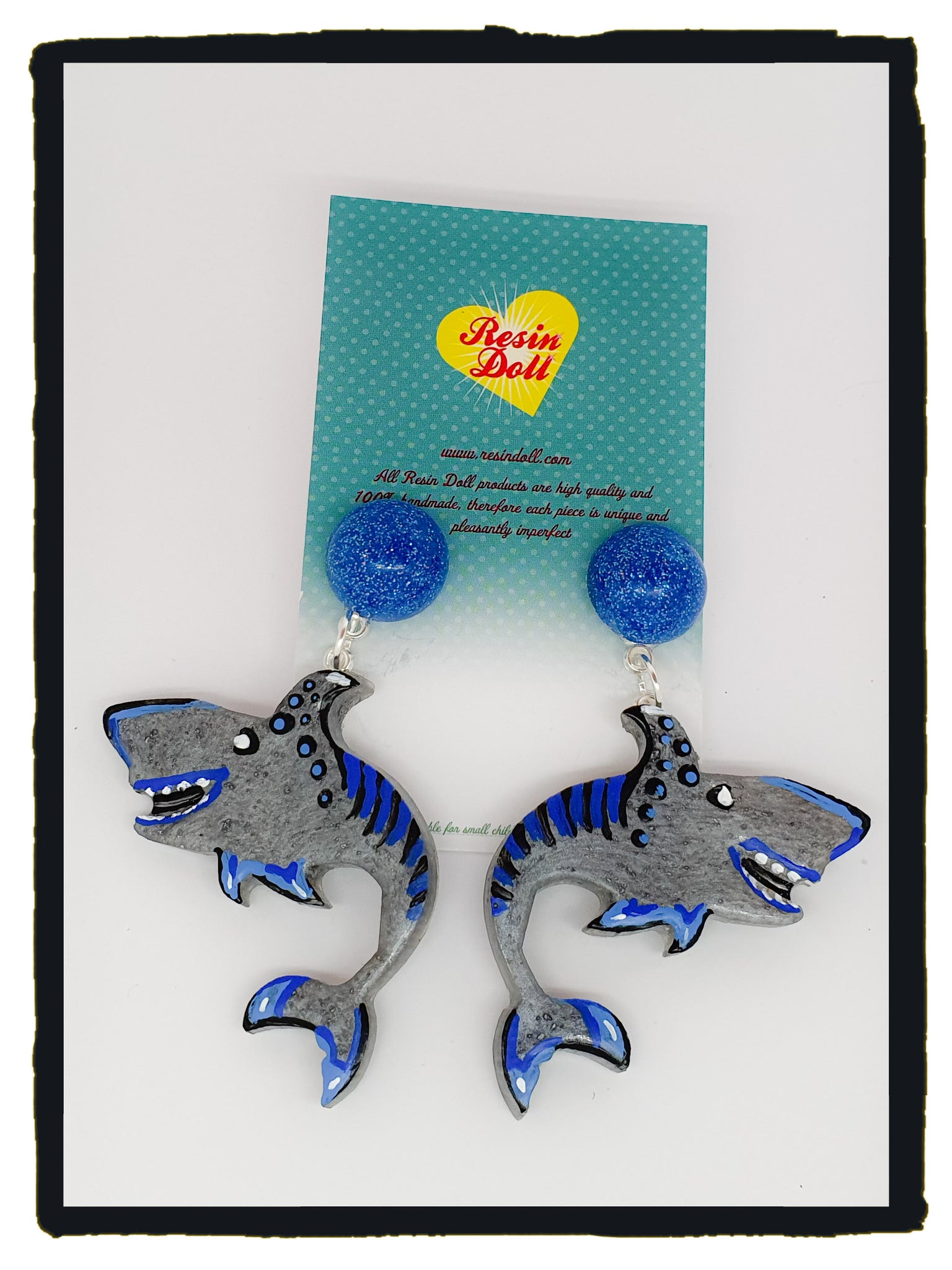 Shark drop earrings