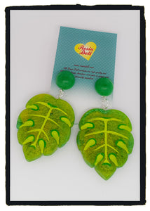 Bright Green leaf drop earrings