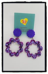 Purple Flower power odd-bodd drop earrings