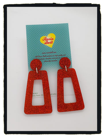 Red Glitter trapezoid drop