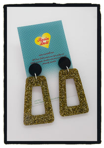 Black and gold Glitter trapezoid drop