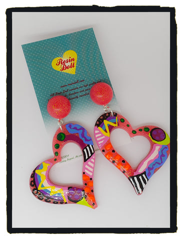 Funtime Jumbo heart drop earrings