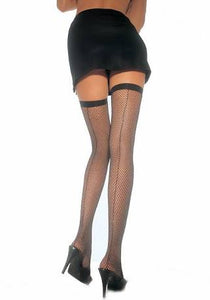 Back seam fishnet thigh high with bow (2 colours)