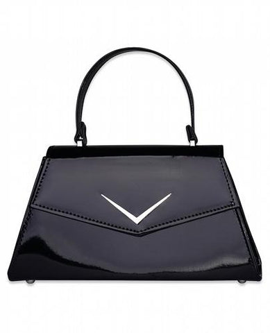 Gloss black Chevron Handbag