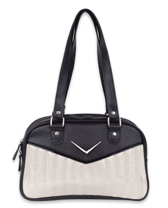 White Chevron bowler bag