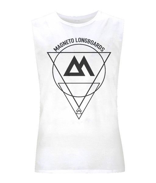 Magneto Unisex tank top - White - Longboard, Longboards, long board