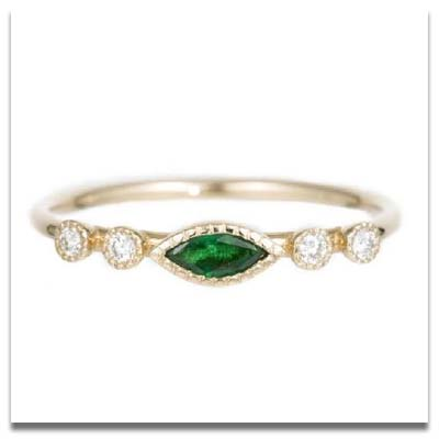 Jennie Kwon Marquise Emerald Dew Ring