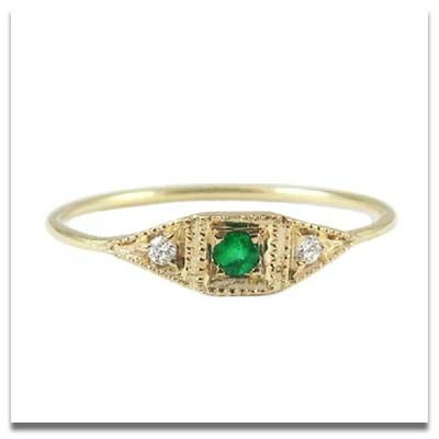 Jennie Kwon Emerald Mini Deco Ring