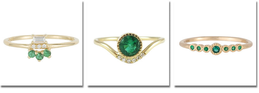Three Jennie Kwon emerald rings detailed below