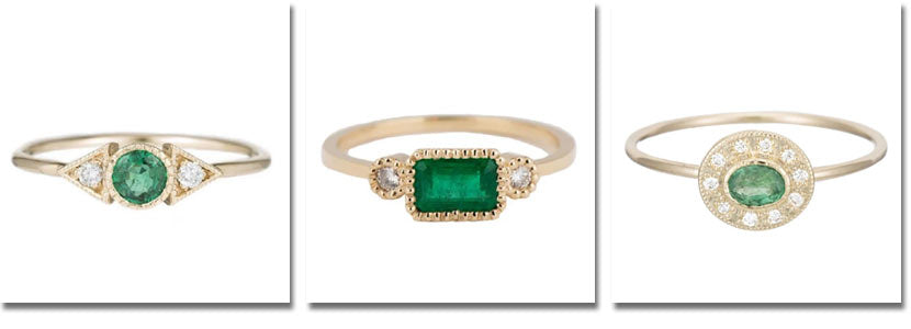 Three emerald rings by Jennie Kwon with price details below