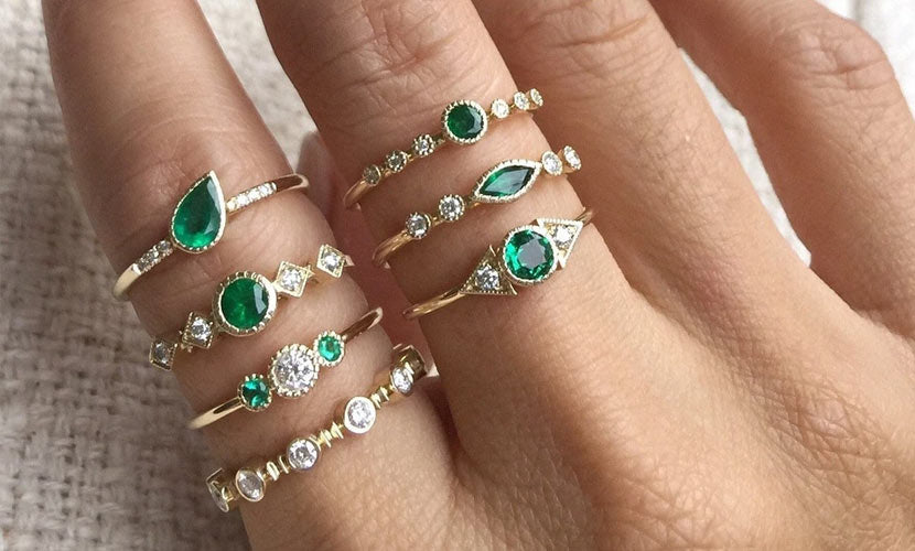 Jennie Kwon emerald rings modelled on hand