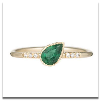 Jennie Kwon Emerald Tilt Equilibrium Ring