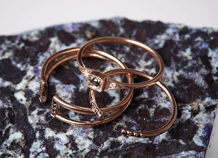 Jennie Kwon black diamond and rose gold rings