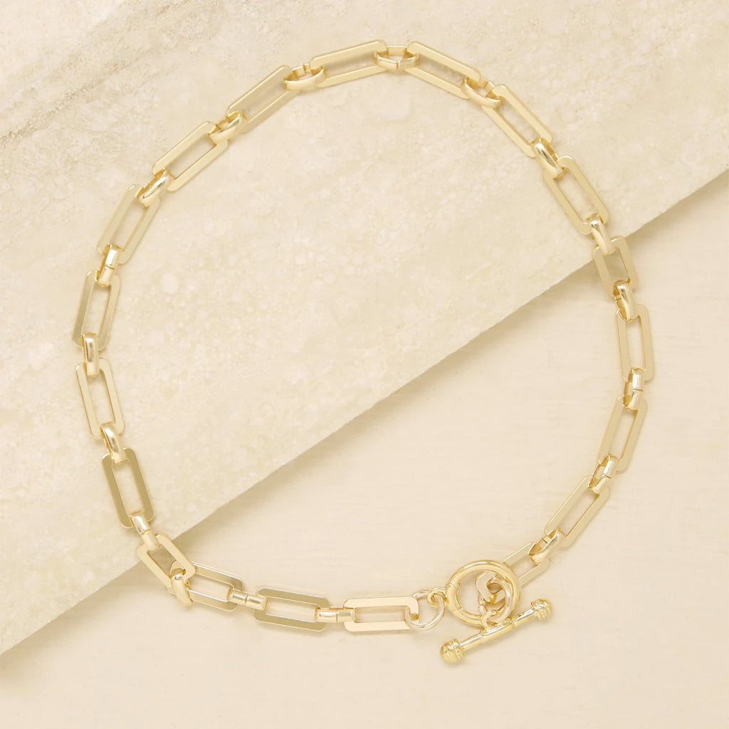 Golden Flat Rectangle Chain Necklace