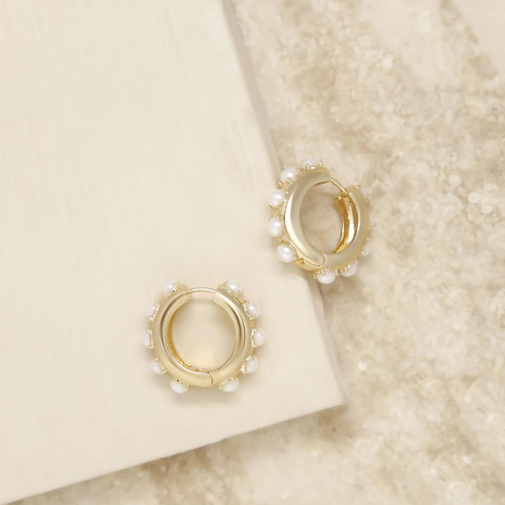 Pearl & Gold Mini Hoop Earrings