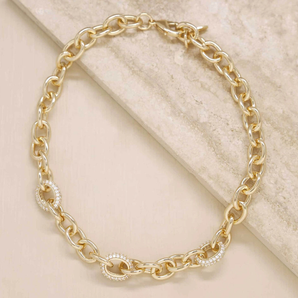 Sparkle and Show Off Gold Chain Link Necklace