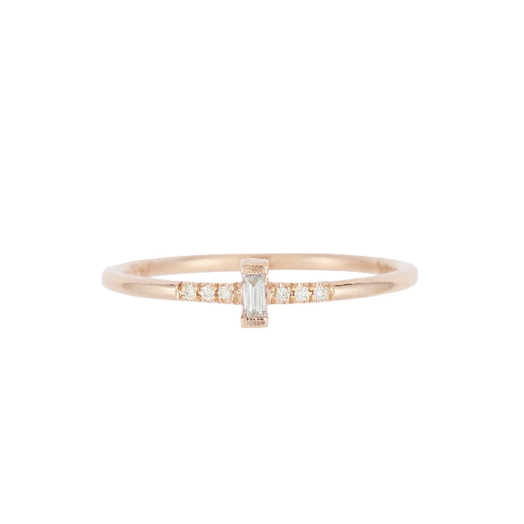 Bar Prong Baguette Equilibrium Ring