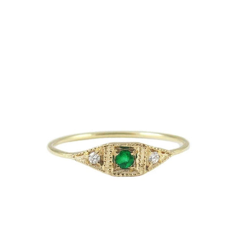 Emerald Mini Deco Point Ring