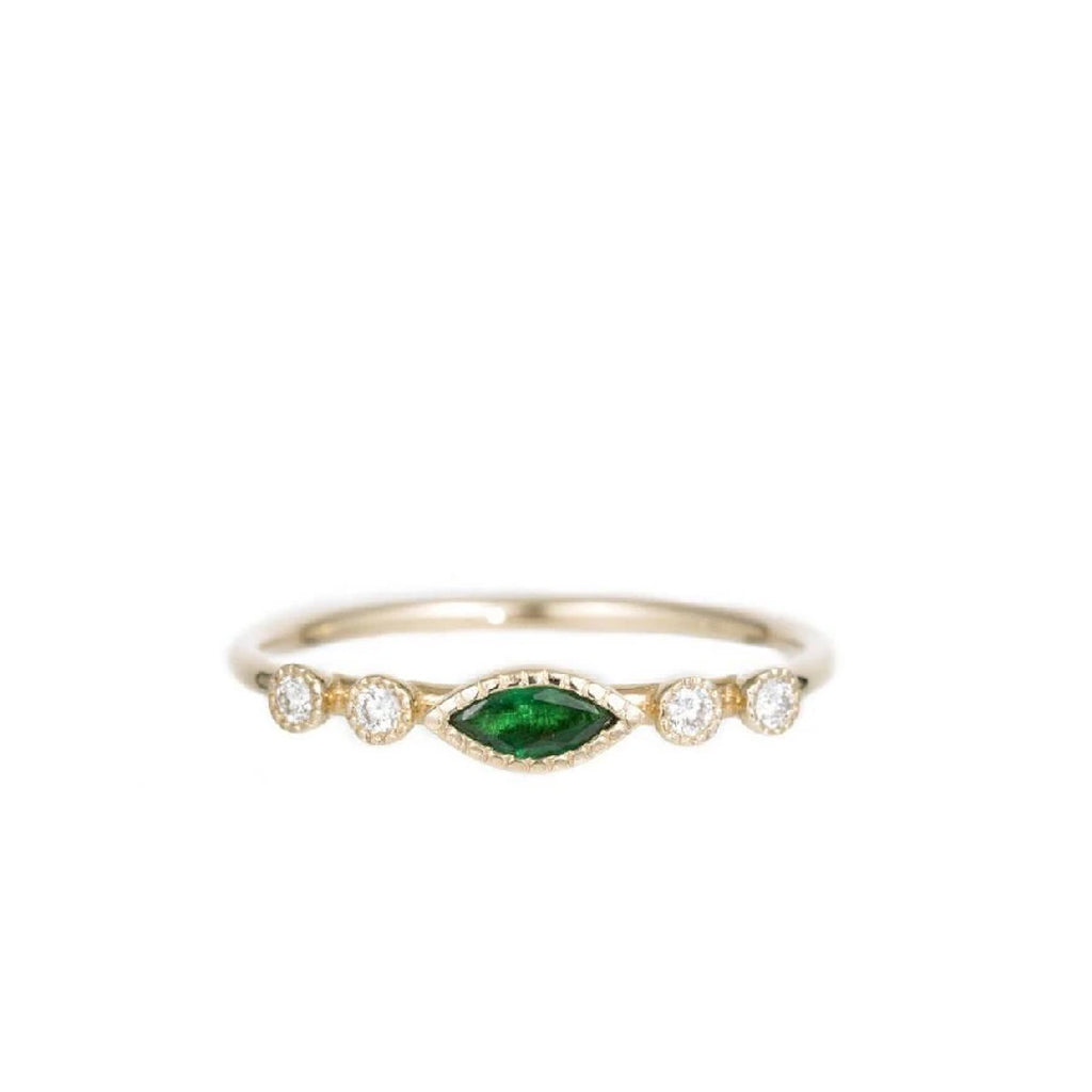 Marquise Emerald Dew Ring