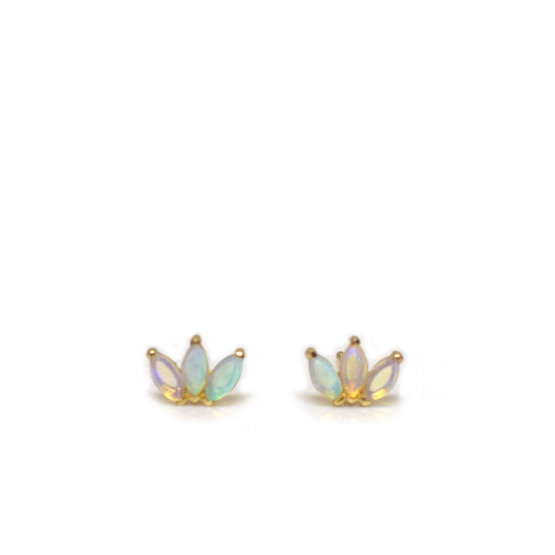 14kt Gold Opal Lotus Stud Earrings