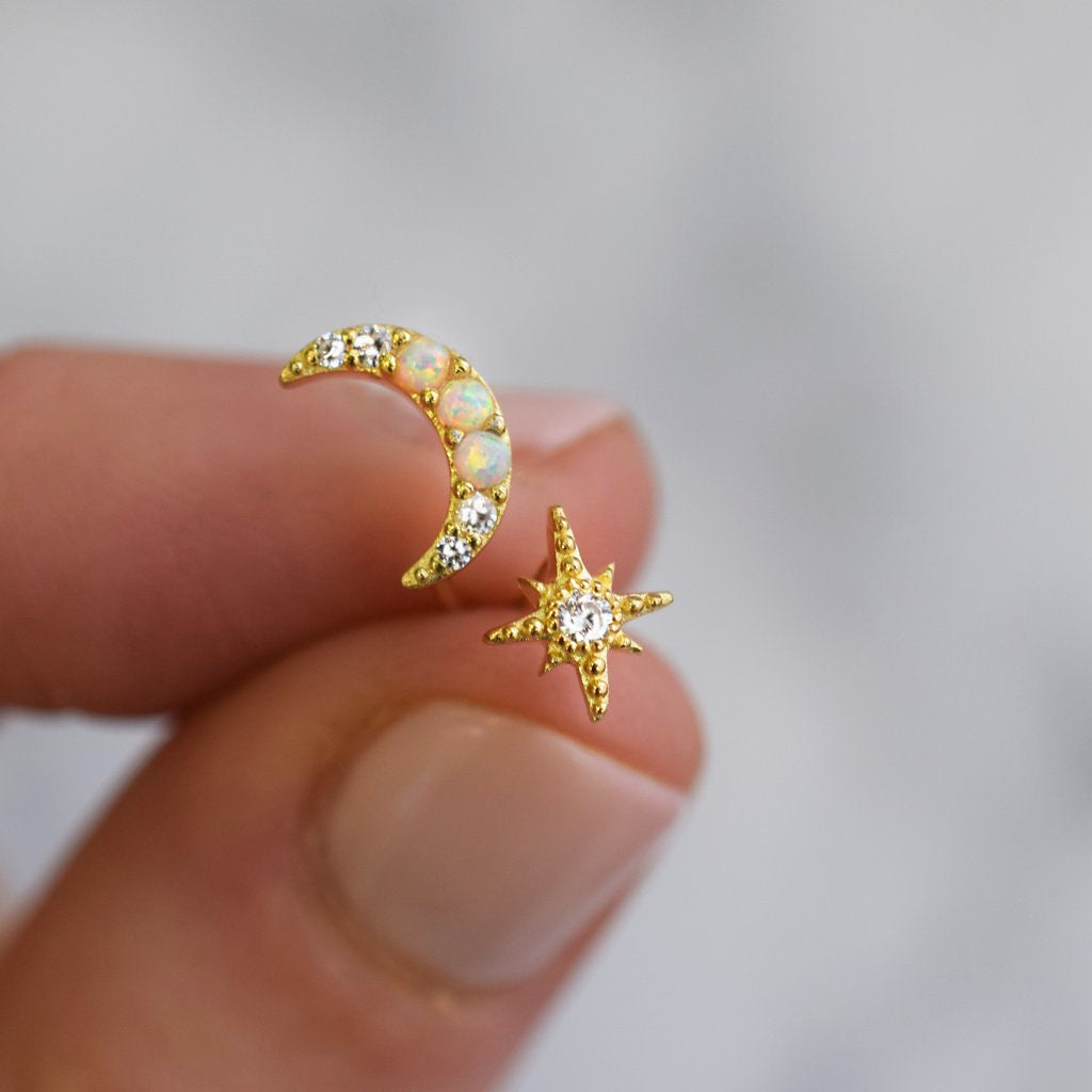 Opal and Diamond Celestial Dream Studs