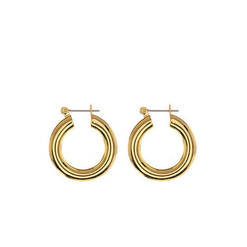Baby Amalfi Tube Hoops in Gold