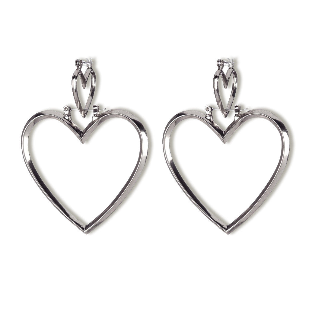 Heartbreaker Hoop Set in Silver