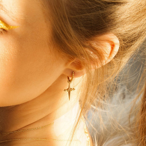 Mini Cross Hoops in Gold