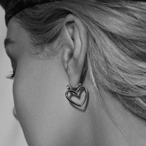 Mini Heartbreaker Hoops in Silver
