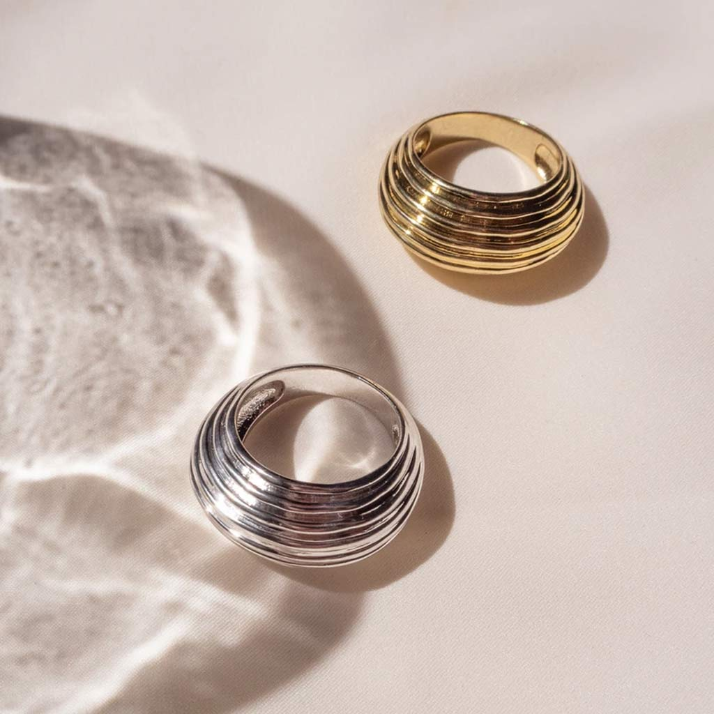 The Wave Dome Ring in Gold
