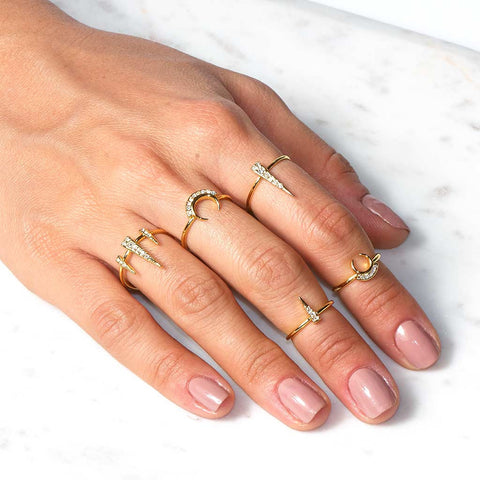 Crescent Spike Ring Set