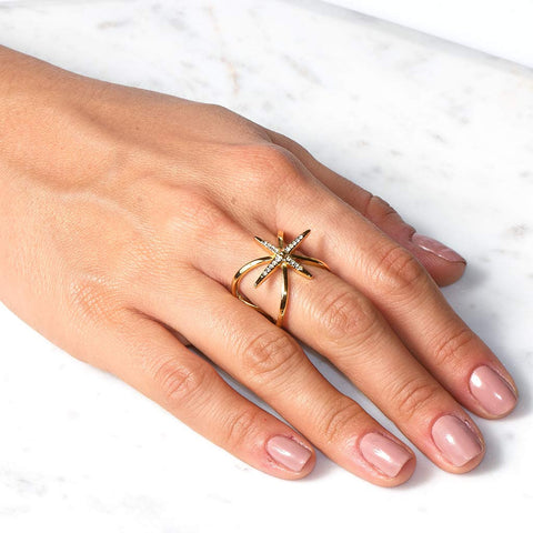 Criss Cross Starburst Ring
