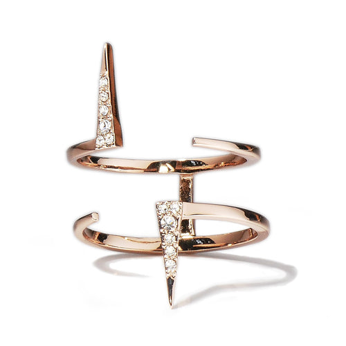 Double Pavé Spike Ring