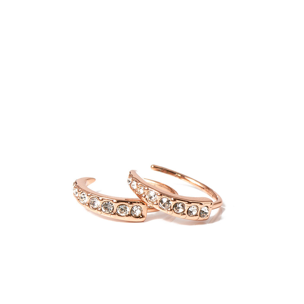 Pavé Crescent Huggies in Rose Gold
