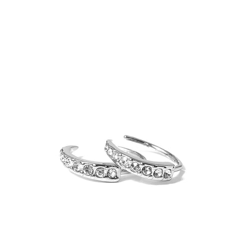 Pavé Crescent Huggies in Silver