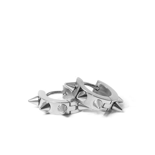 Roxie Spike Hoop Earrings in Rhodium
