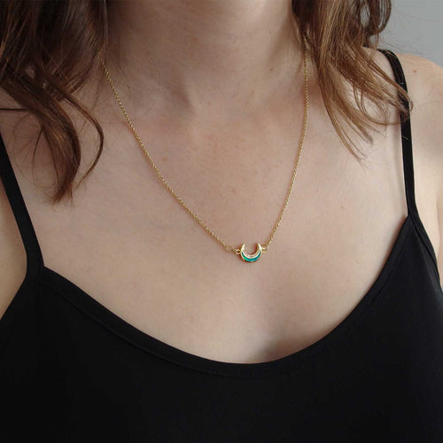 Opal Crescent Necklace