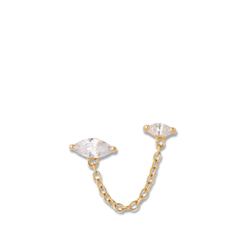 Droplet Double Stud Earring with Chain