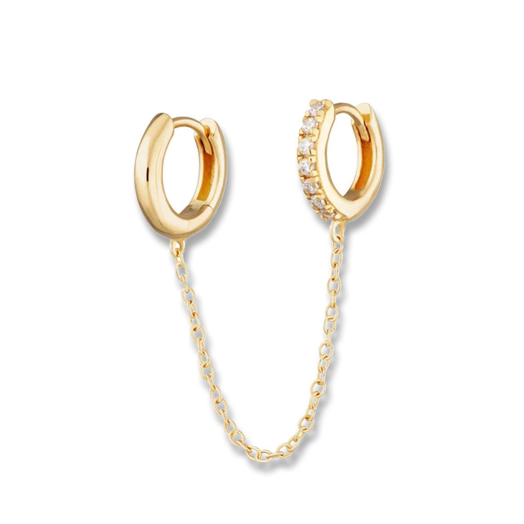 Gold Chain Linked Mismatched Huggie Hoop Earring