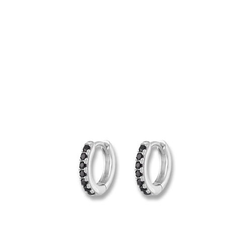 Silver Huggie Hoop Earrings With Black Stones