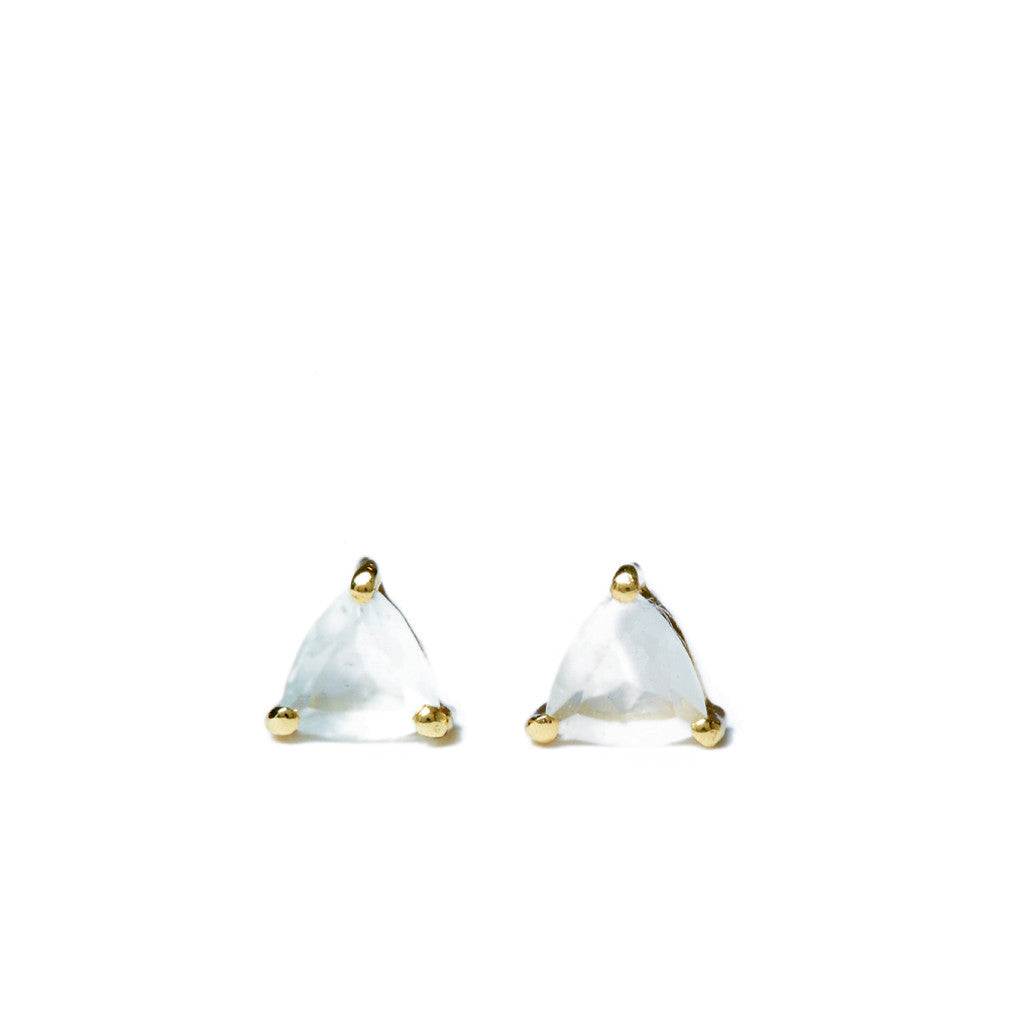 Ocean Droplet Studs in Gold and Aquamarine