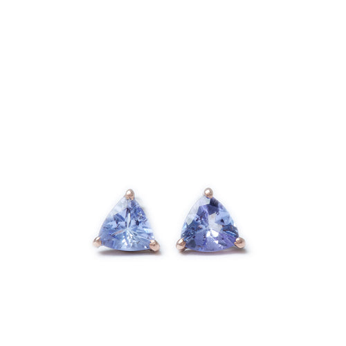 Ocean Droplet Studs in Rose Gold and Tanzanite