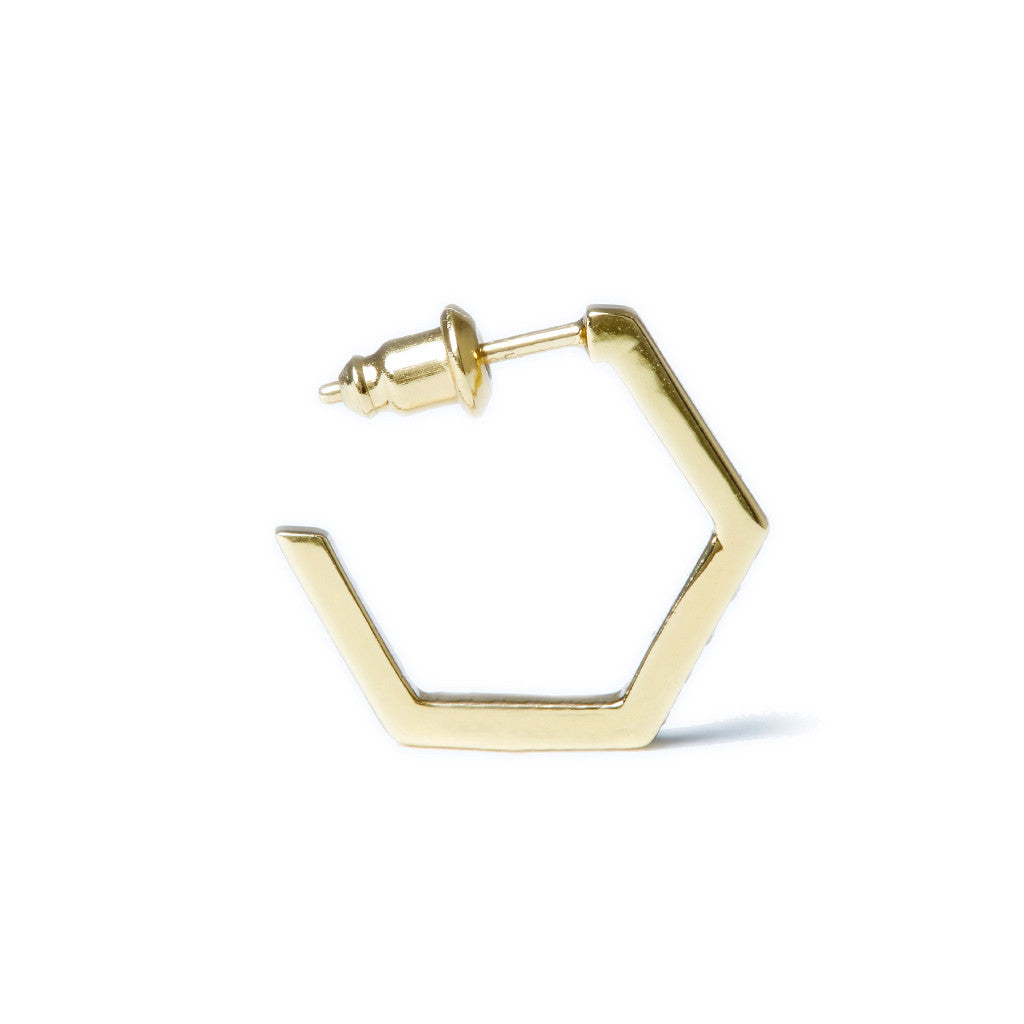 Crystallized Hexagon Hoops in Gold