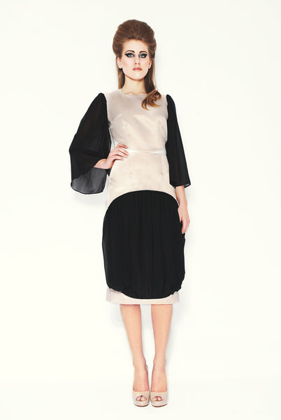 RUDYBOIS Fall Winter 2013 collection Ivory, Black Silk Insert & Sleeves Dress