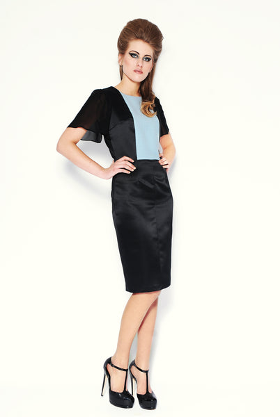 RUDYBOIS Fall Winter 2013 collection Black, Powder Blue Angora/Wool Insert & Black Silk Sleeves Dress