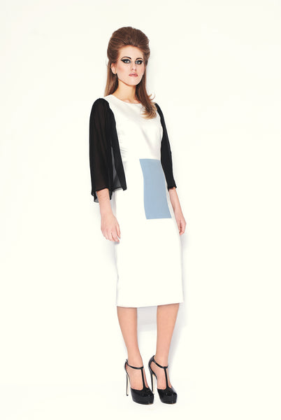 RUDYBOIS Fall Winter 2013 collection Black Silk Sleeves, White & Powder Blue Angora/Wool Insert Dress